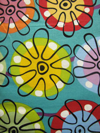 "Andover Fabrics ""Flower Doodle"" #5793 col. T - Bright Flowers on Turquoise"