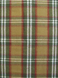 "Marcus Fabrics ""Primo Plaid Flannel"" #R09-J308-0139 - Green, Tan, Red and White Plaid Flannel"