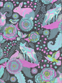 "Free Spirit ""Tula Pink-Fox Field-Foxtrot"" #PWTP045-Dusk - Rabbits and Foxes"
