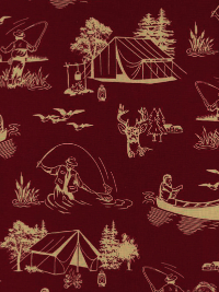 "Windham Fabrics ""Outdoor Life"" #35479-4 - Outdoor Fun: Camping, Fishing, Canoeing"