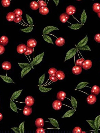 "QT Fabrics ""Home Sweet Home"" # 1649-26330-J - Cherries on Black"