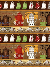 "Quilting Treasures ""Daily Grind"" #1649-21673-A - Coffee Pots Border Stripe"
