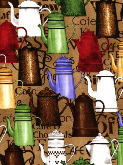 "Quilting Treasures ""Daily Grind"" #1649-21674-A - Coffee Pots_MAIN"