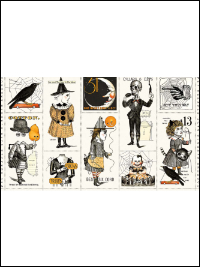 "Riley Blake ""Costume Maker's Ball"" # P-8361 col. Cream - Halloween Character Patches Panel_THUMBNAIL"