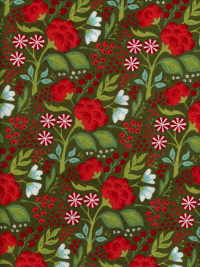 "Moda ""Juniper Berry - Basic Grey"" #30432-14 - Red and Blue Flowers on Green"