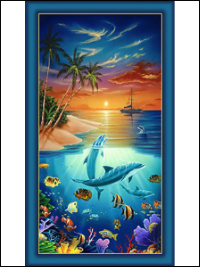 "Quilting Treasures ""Dolphin Island"" # 1649-24591-Q – Dolphin Island Panel"