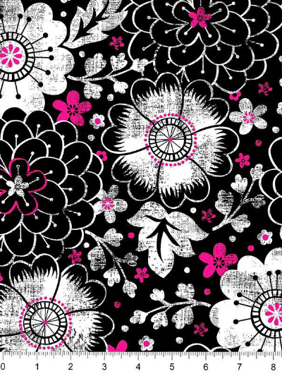 "Quilting Treasures ""En Vogue"" # 1649-26021-J – Contempo Floral on Black"