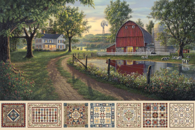 "Northcott ""Heritage Quilting"" Digital Panel # DP21927-12 – Farmstead Scene and Small Quilts"