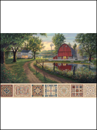 "Northcott ""Heritage Quilting"" Digital Panel # DP21927-12 - Farmstead Scene and Small Quilts"
