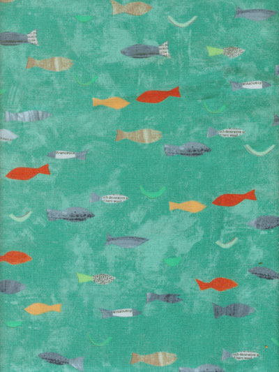 "Windham Fabrics ""Story"" by Carrie Bloomstom #40878-1 - Colorful Fish on Aqua_MAIN"