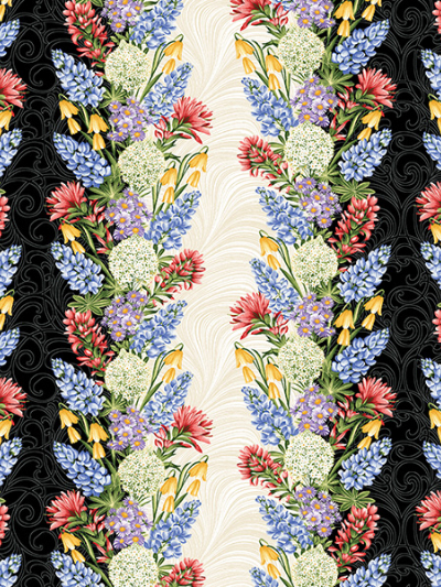 "Benartex ""A Wildflower Meadow"" # 02960 col. 99 - Flowers on Black and Cream Stripes"
