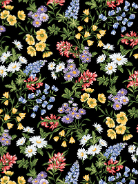 "Benartex ""A Wildflower Meadow"" # 02961-12 - Flowers on Black"