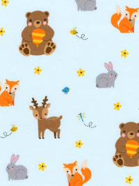 "Robert Kaufman ""Woodland Hideaway"" Flannel # ARHF-17071-70-Aqua - Woodland Animals"