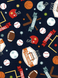 "Riley Blake ""Game Day"" # C-5890 col. Navy - Sports Print_THUMBNAIL"