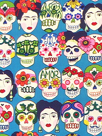 "Alexander Henry Fabrics - ""Gotas de Amor"" # 7925-F - Sugar Skulls on Royal Blue"