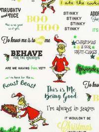"Robert Kaufman ""How the Grinch Stole Christmas 8"" # 17491-223-HOLIDAY - Grinchmas Phrases_THUMBNAIL"