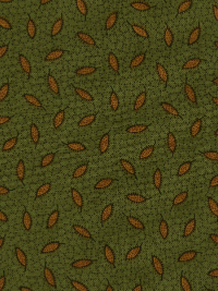 "Andover ""Pumpkin Spice"" #A-8264-G - Gold Leaves on Green"