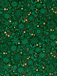 "Makower ""Silent Night"" # 1980-G - Snowflakes, Foliage and Stars on Green"
