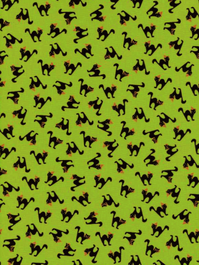 "Moda ""Spooky Delights"" by Bunny Hill Designs #2902 col. 15 — Green with Black Cats"