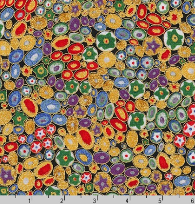 "Robert Kaufman ""Gustav Klimt"" # 17183-205 MULTI – Multi Colored Circles"