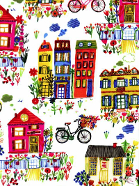 "Windham Fabrics ""Flower Pedals"" # 41248 - Homes and Bikes"