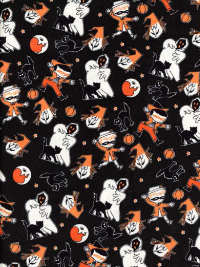 "Riley Blake ""Trick or Treat"" # C-5991 col. Black - Halloween Characters"