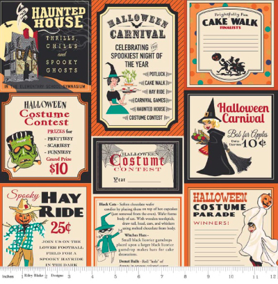 "Riley Blake ""Trick or Treat"" # C-5990 col. Orange - Halloween Labels"