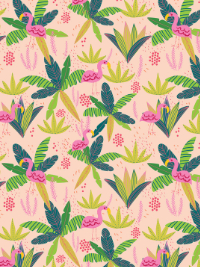 "Mia Charro by Blend Fabrics ""Junglemania"" # 129-102-06-1 FLAMINGO PEACH - Flamingos on Pink THUMBNAIL"