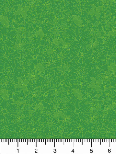 "Mia Charro by Blend Fabrics ""Junglemania"" # 129-102-05-1 SIGRID GREEN - Green Flowers MAIN"