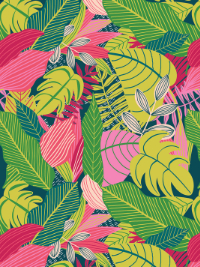 "Mia Charro by Blend Fabrics ""Junglemania"" # 129-102-02-1 JUNGLE PINK - Jungle Leaves THUMBNAIL"
