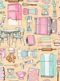 "QT Fabrics ""Home Sweet Home"" # 1649-26326-E - Kitchen Utensils and Appliances"