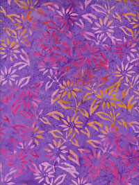 "Batik by Mirah ""Cloudy Bay"" #CY-5 col. 5585 — Lavender with Pink and Orange Flowers"