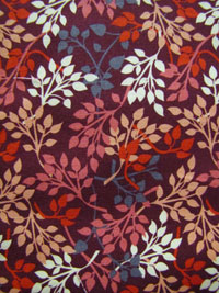 "Exclusively Quilters ""Night Owls"" #3804-60145 col. 9 - Small Leaves on Burgundy Background"