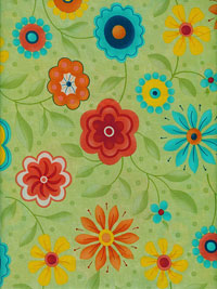 "Moda ""Block Party"" #17812 col. 16 - Lime Green with Large Multicolored Flowers"