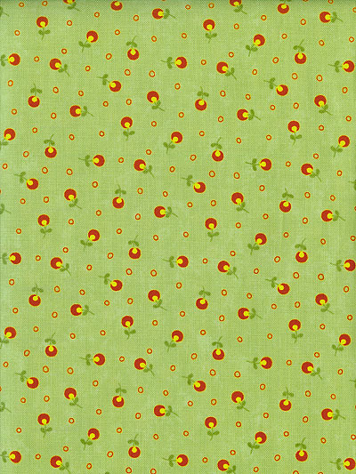 "Moda ""Block Party"" #17817 col. 16 - Lime Green with Small Red and Yellow Flowers"