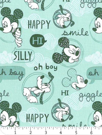 "Camelot Fabrics ""Mickey Mouse – Friends"" # 85270302 – Mickey Mouse Friends on Light Turquoise"