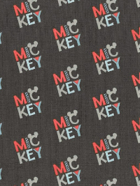 "Camelot Fabrics ""Mickey Mouse – Logo"" # 85270304 col. 02 – Mickey Mouse Logo on Dark Gray"