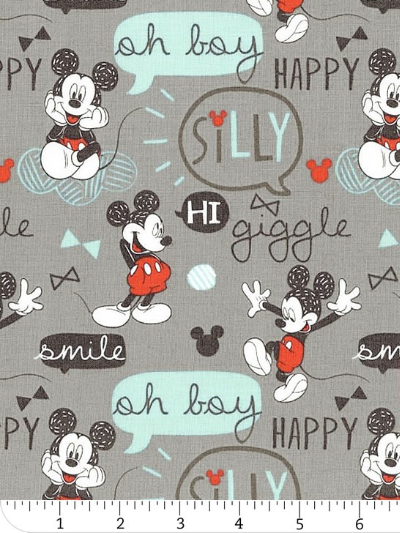 "Camelot Fabrics ""Mickey Mouse – Oh Boy"" # 85270301 col. 02 – Mickey Mouse ""Oh Boy!"" on Gray"