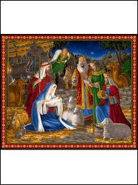 "QT Fabrics ""Miracle in Bethlehem"" # 1649-26570-X – Nativity Scene Panel"