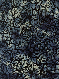 "Hoffman Fabrics ""Hand Painted Batik"" #L.2580 col. 524-moonstruck — Dark Blue with Cream Roses"