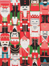 "Alexander Henry ""Nutcracker Sweet"" # M8524-A – Red and Gold Metallic Nutcrackers"