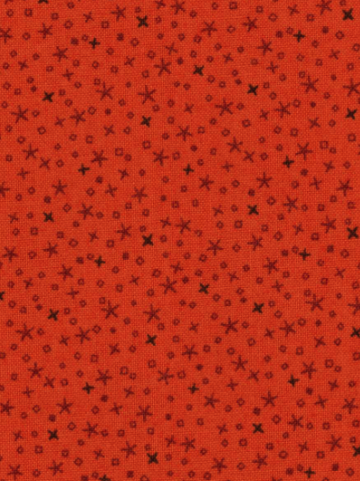 "Andover ""Pumpkin Spice"" #A-4262-02 - Tiny Black Stars on Orange"