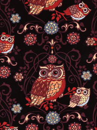 "Exclusively Quilters ""Night Owls"" #3804-60141 col. 8 - Brown Owls on Black"
