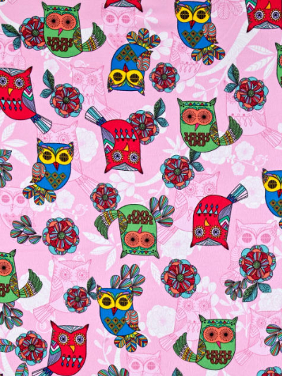 "Timeless Treasures ""Owl"" Flannel # CF5562-Pink - Owls on Pink"