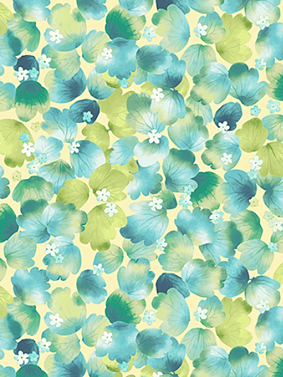 "Quilting Treasures ""Delaney"" # 26057-S - Packed Leaves on Soft Yellow"
