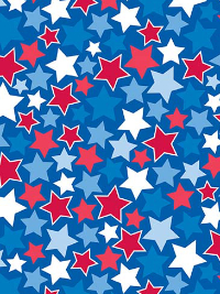 "Riley Blake ""Patriotic Picnic"" # C8001-BLUE - Red, White and Blue Stars on Blue"