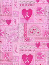 "Timeless Treasures ""Gail"" #C1766 col. pink — Breast Cancer Pink Ribbon Print"