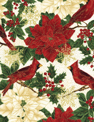 "Timeless Treasures ""Holiday"" # CM4280-Cream - Poinsettias and Cardinals_MAIN"