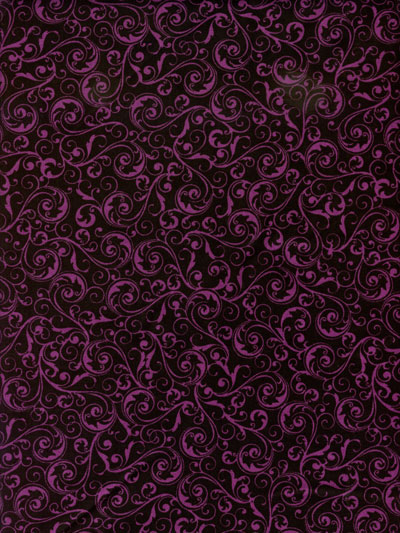 "Henry Glass & Co. ""Black Magic"" #9679 col. 95 — Purple Swirls on Black"