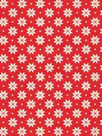 "Makower ""Scandi Basics"" # 1789-R - Small White Poinsettia Shapes on Red"